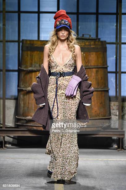 Natasha Poly walks the runway at the Dsquared2 show during Milan Men's Fashion Week Fall/Winter 2017/18 on January 15, 2017 in Milan, Italy.