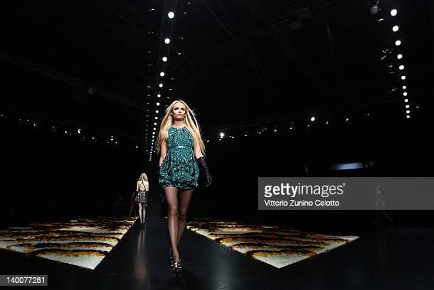 Natasha Poly walks the runway at the Roberto Cavalli Autumn/Winter 2012/2013 fashion show as part of Milan Womenswear Fashion Week on February 27,...