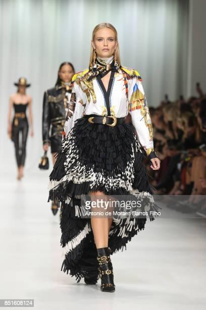 Natasha Poly walks the runway at the Versace show during Milan Fashion Week Spring/Summer 2018 on September 22 2017 in Milan Italy