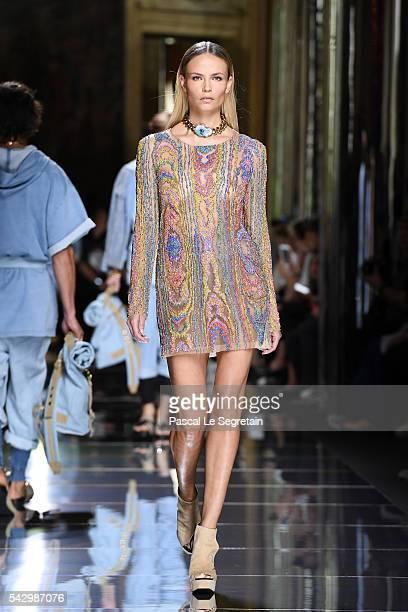 Natasha Poly walks the runway during the Balmain Menswear Spring/Summer 2017 show as part of Paris Fashion Week on June 25, 2016 in Paris, France.