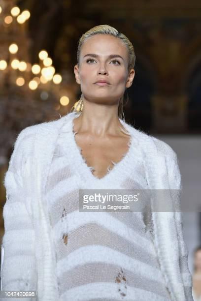 Natasha Poly walks the runway during the Balmain show as part of the Paris Fashion Week Womenswear Spring/Summer 2019 on September 28 2018 in Paris...