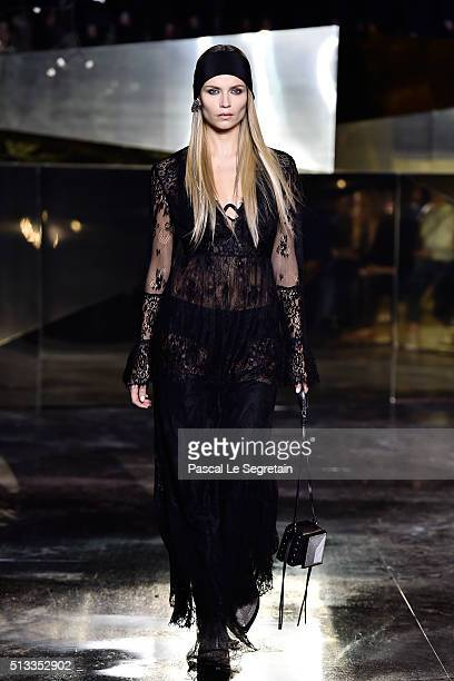 Natasha Poly walks the runway during the HM show as part of the Paris Fashion Week Womenswear Fall/Winter 2016/2017 on March 2 2016 in Paris France
