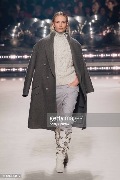 Natasha Poly walks the runway during the Isabel Marant show as part of Paris Fashion Week Womenswear Fall/Winter 2020/2021 on February 27, 2020 in...