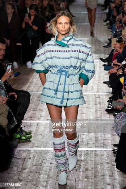 Natasha Poly walks the runway during the Isabel Marant Womenswear Spring/Summer 2020 show as part of Paris Fashion Week on September 26, 2019 in...