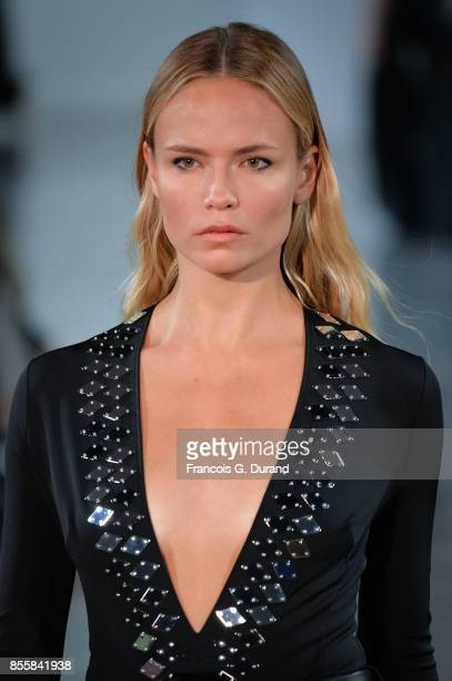 Natasha Poly walks the runway during the Mugler show as part of the Paris Fashion Week Womenswear Spring/Summer 2018 on September 30 2017 in Paris...