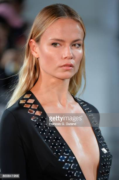 Natasha Poly walks the runway during the Mugler show as part of the Paris Fashion Week Womenswear Spring/Summer 2018 on September 30 2017 in Paris...