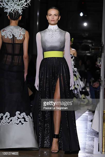 Natasha Poly walks the runway during the Valentino Haute Couture Spring/Summer 2020 show as part of Paris Fashion Week on January 22, 2020 in Paris,...