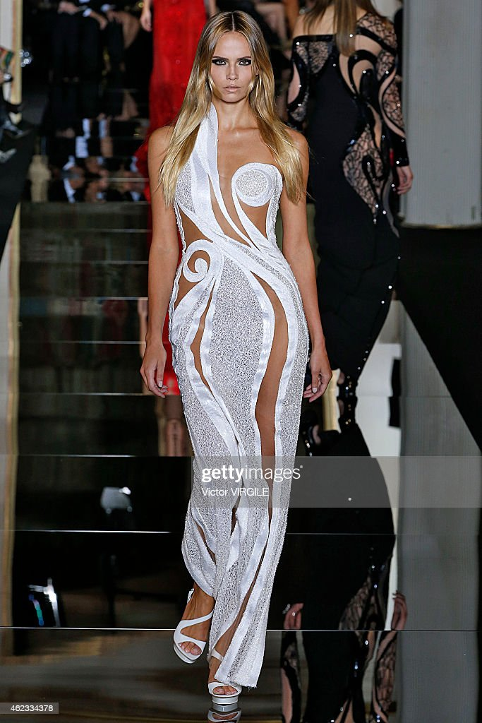 Natasha Poly walks the runway during the Versace show as part of Paris Fashion Week Haute Couture Spring/Summer 2015 on January 25, 2015 in Paris, France.