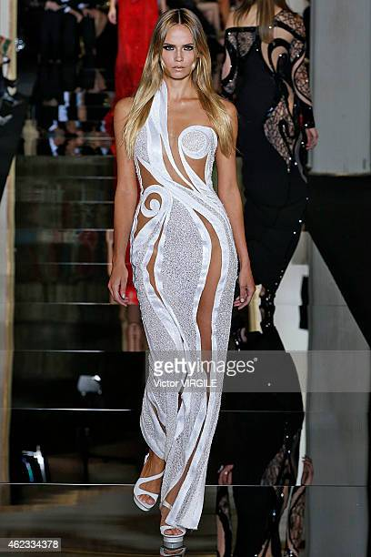 Natasha Poly walks the runway during the Versace show as part of Paris Fashion Week Haute Couture Spring/Summer 2015 on January 25 2015 in Paris...