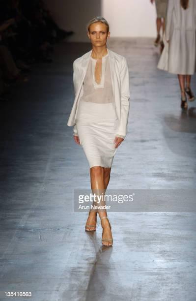 Natasha Poly wearing Calvin Klein Spring 2005 during Olympus Fashion Week Spring 2005 - Calvin Klein - Runway at 450 West 15th Street in New York...