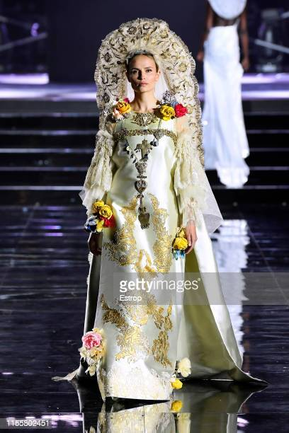 Natasha Polywalks the CR Runway x LuisaViaRoma at Piazzale Michelangelo during the Pitti Immagine Uomo 96 on June 13 2019 in Florence Italy