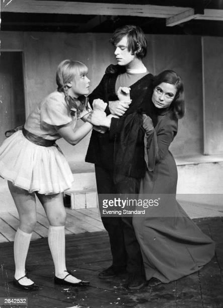 Natasha Pyne as Ophelia Nikolas Simmonds as Hamlet and Thelma Holt as Gertrude in a mock scene from Charles Marowitz's 'Hamlet'