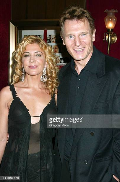 Natasha Richardson and Liam Neeson during Love Actually New York Premiere Inside Arrivals at Ziegfeld Theatre in New York City New York United States