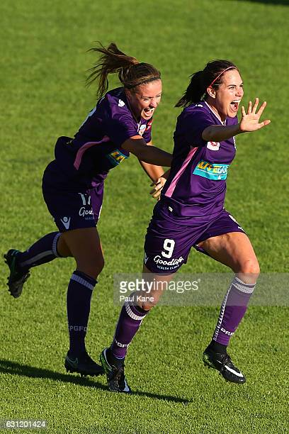 Natasha Rigby and Rosie Sutton of the Glory celebrates a goal during the round 11 WLeague match between the Perth Glory and Melbourne Victory at...