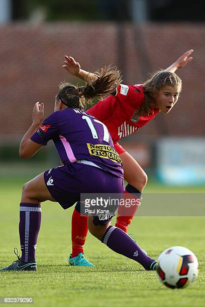 Natasha Rigby of the Glory and Emily Hodgson of United contest for the ball during the round 13 W-League match between Perth Glory and Adelaide...