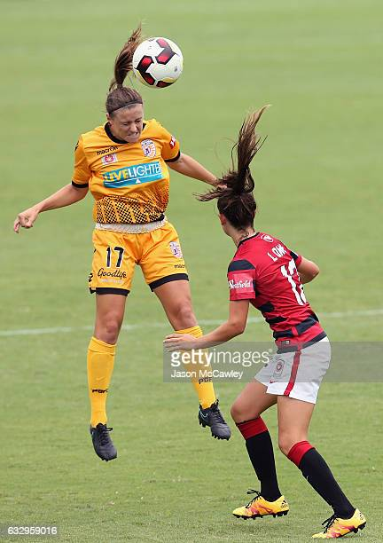 Natasha Rigby of the Glory heads the ball during the round 14 WLeague match between the Western Sydney Wanderers and Perth Glory at Popondetta Park...