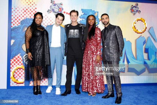 Natasha Rothwell Ben Schwartz Jim Carrey Tika Sumpter and Lee Majdoub attend a Sonic The Hedgehog Special Screening at the Regency Village Theatre on...