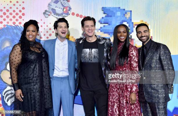 Natasha Rothwell Ben Schwartz Jim Carrey Tika Sumpter and Lee Majdoub attend the LA Special Screening of Paramount's Sonic the Hedgehog at Regency...