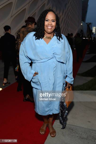 Natasha Rothwell celebrates with Land Rover at The Broad museum's opening celebration of its new art exhibition Soul of a Nation Art in the Age of...