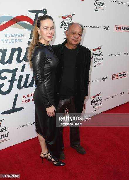 Natasha Rubin and Cheech Marin at Steven Tyler and Live Nation presents Inaugural Janie's Fund Gala GRAMMY Viewing Party at Red Studios on January 28...