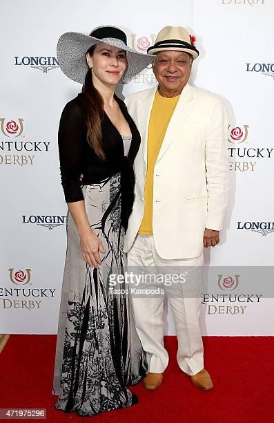 Natasha Rubin and Cheech Marin attend the 141st Kentucky Derby at Churchill Downs on May 2 2015 in Louisville Kentucky