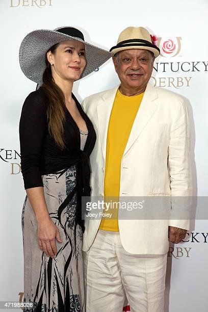 Natasha Rubin and Cheech Marin attends the 141st Kentucky Derby at Churchill Downs on May 2 2015 in Louisville Kentucky