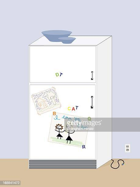 Natasha S Johnson color illustration of refrigerator decorated with kids' magnets and drawings The Bellingham Herald/MCT via Getty Images