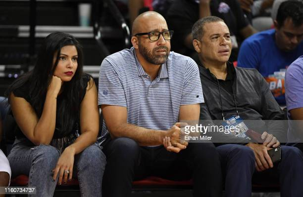 Natasha SenFizdale head coach David Fizdale and general manager Scott Perry of the New York Knicks attend a game between the Knicks and the Phoenix...