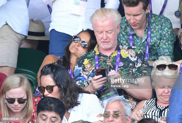 Natasha Shishmanian and Chris Evans attend the men's singles final on day thirteen of the Wimbledon Tennis Championships at the All England Lawn...