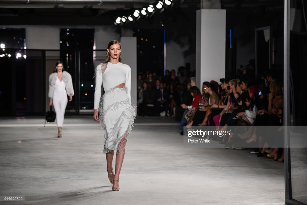Natasha Sirotina walks the ruway at Cushnie Et Ochs Fashion Show during New York Fashion Week at Pier 17 on February 9, 2018 in New York City.