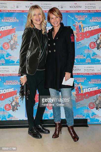 Natasha Stefanenko and Ellen Hidding attend the first night Boing Boing at Manzoni's Theater on February 20 2014 in Milan/Italy