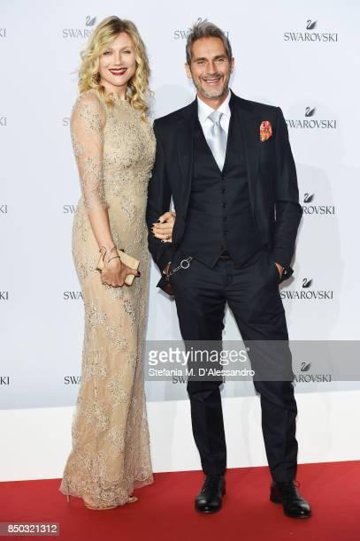 Natasha Stefanenko and Luca Sabbioni attend Swarovski Crystal Wonderland Party on September 20 2017 in Milan Italy