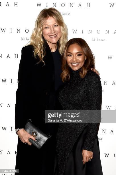 Natasha Stefanenko and Winonah de Jong attend Winonah presentation during Milan Fashion Week Fall/Winter 2017/18 on February 24 2017 in Milan Italy