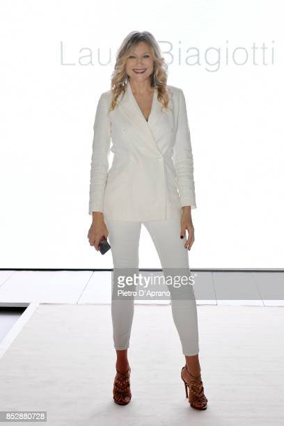 Natasha Stefanenko attends the Laura Biagiotti show during Milan Fashion Week Spring/Summer 2018 on September 24 2017 in Milan Italy