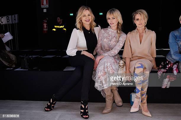 Natasha Stefanenko Barbara Snellenburg and Justine Mattera attend the PiccionePiccione show during Milan Fashion Week Fall/Winter 2016/17 on February...
