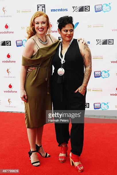 Natasha Utting poses with partner Anika Moa for a photo on the red carpet at the Vodafone New Zealand Music Awards at Vector Arena on November 19...