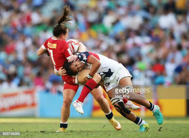 Natasha WatchamRoy of Canada is tackled by Joanne Fa'avesi of the USA during the womens cup final match between USA and Canada in the 2017 HSBC...