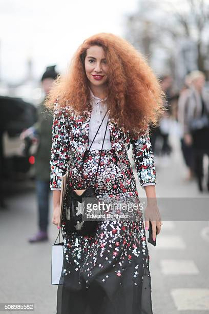 Natasha Zinko wearing Chanel after the Chanel show during Paris Fashion Week Haute Couture Spring Summer 2016 on January 26 2016 in Paris France