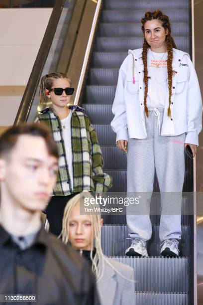 Natasha Zinko with her son Ivan Zinko walk the runway at the Natasha Zinko show during London Fashion Week February 2019 on February 17 2019 in...
