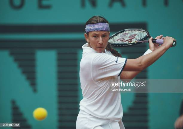 Natasha Zvereva of Belarus returns against Judith Wiesner during their Women's Singles second round match at the French Open Tennis Championship on...