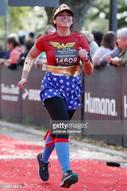 Natassha Valente finishesthe Humana Rock 'n' Roll New Orleans 1/2 Marathon on February 09, 2020 in New Orleans, Louisiana.