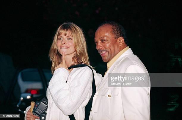 Natassja Kinski and partner Quincy Jones attend the wedding of Whoopi Goldberg and Lyle Trachtenberg