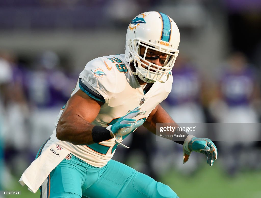 Nate Allen #29 of the Miami Dolphins warms up before the preseason game against the Minnesota Vikings on August 31, 2017 at U.S. Bank Stadium in Minneapolis, Minnesota.