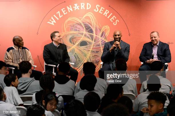 Nate Archibald Frank Isola Kobe Bryant and Tom Thibodeau discuss the launch of Granity Studios' debut book The Wizenard Series Training Camp to young...