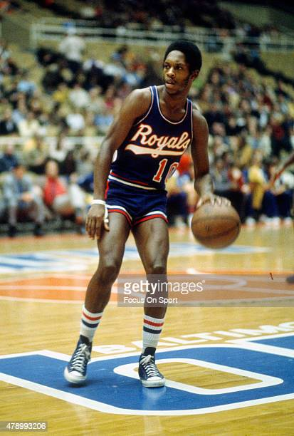 Nate Archibald of the Cincinnati Royals dribbles the ball against the Baltimore Bullets during an NBA basketball game circa 1971 at the Baltimore...