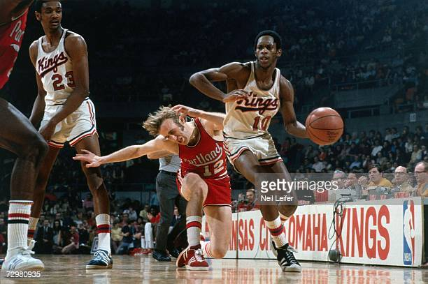 Nate Archibald of the Kansas CityOmaha Kings drives to the basket against the Portland Trail Blazers during a 1973 NBA game at the Kemper Arena in...