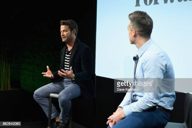 Nate Berkus and Seth Fritz speak on stage the Design Forward with Delta Faucet at Cooper Hewitt Smithsonian Design Museum on October 16 2017 in New...