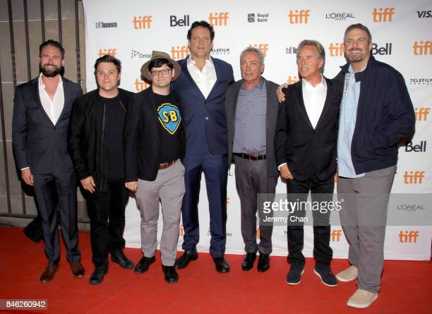 """Nate Bolotin, Jack Heller, Tiff programmer Peter Kuplowsky, Vince Vaughn, Udo Kier, Don Johnson, and Dallas Sonnier attend the """"Brawl in Cell Block..."""