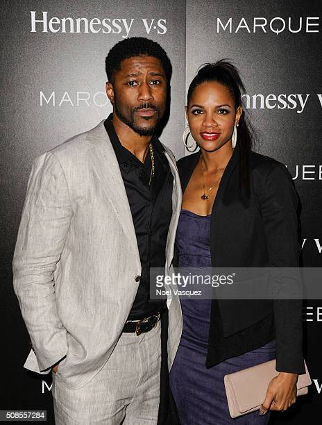 Nate Burleson and Atoya Burleson attends Marquee Takeover at Verso Big Game Weekend presented by Hennessy VS Day 1 on February 4 2016 in San...