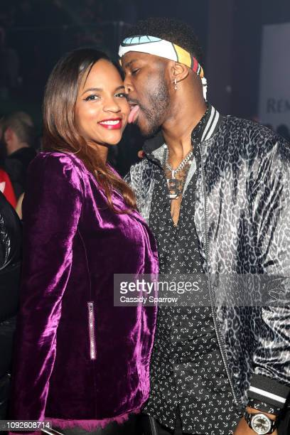 Nate Burleson and guest attend TAO Group's Big Game Takeover presented by Tongue Groove on February 1 2019 in Atlanta Georgia